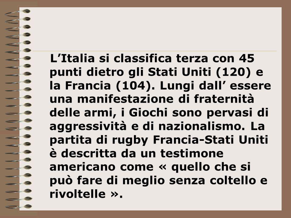 L'Italia si classifica terza con 45 punti dietro gli Stati Uniti (120) e la Francia (104).