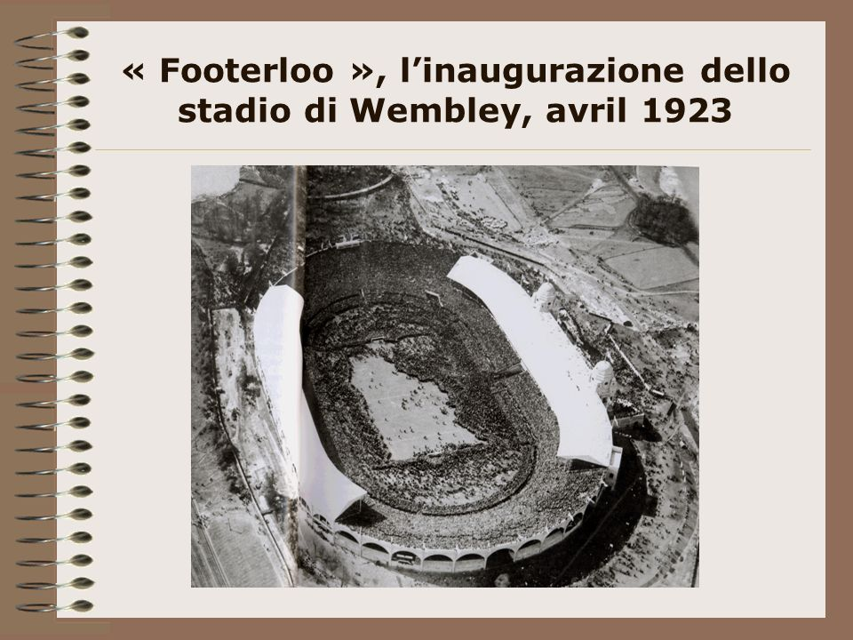« Footerloo », l'inaugurazione dello stadio di Wembley, avril 1923