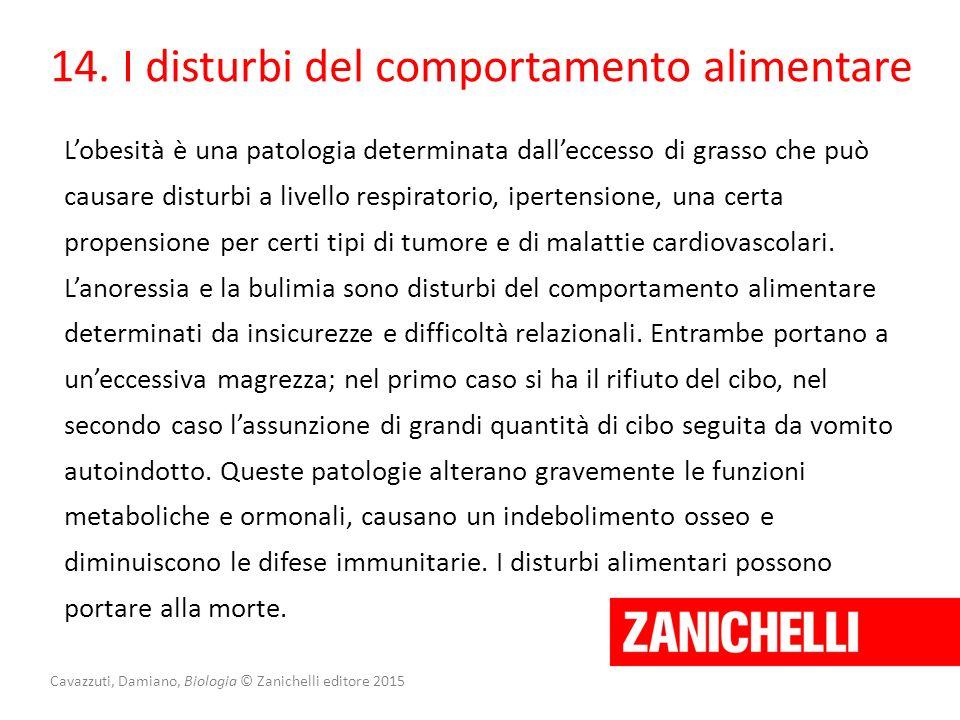 Cavazzuti, Damiano, Biologia © Zanichelli editore 2015 14. I disturbi del comportamento alimentare L'obesità è una patologia determinata dall'eccesso