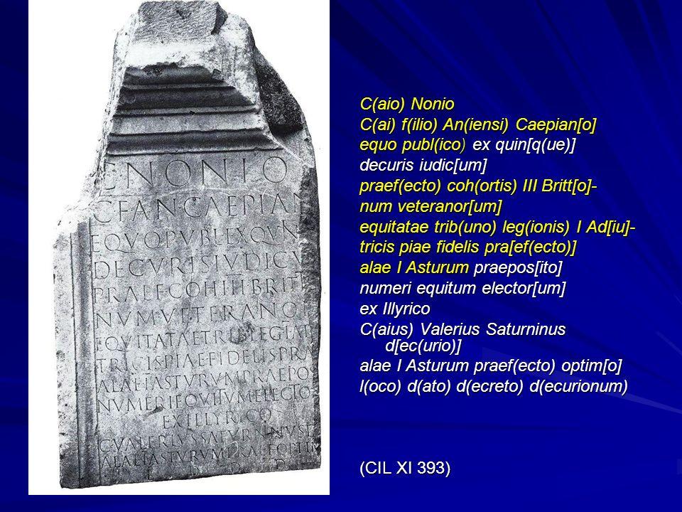 C(aio) Nonio C(ai) f(ilio) An(iensi) Caepian[o] equo publ(ico) ex quin[q(ue)] decuris iudic[um] praef(ecto) coh(ortis) III Britt[o]- num veteranor[um]