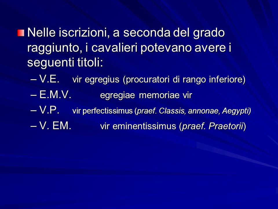 Nelle iscrizioni, a seconda del grado raggiunto, i cavalieri potevano avere i seguenti titoli: –V.E. vir egregius (procuratori di rango inferiore) –E.