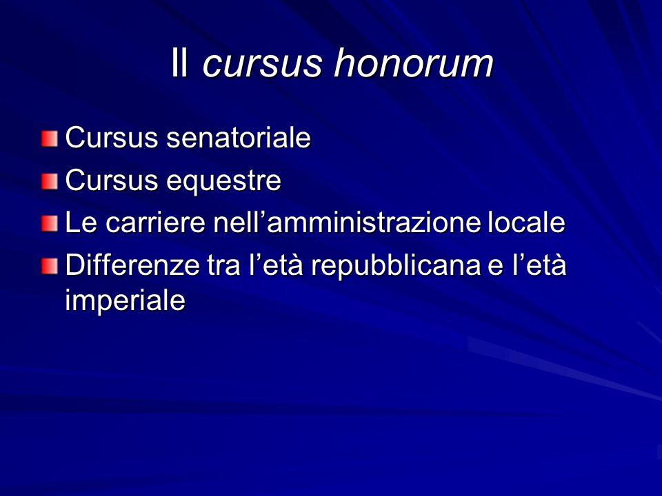 Il cursus honorum Cursus senatoriale Cursus equestre Le carriere nell'amministrazione locale Differenze tra l'età repubblicana e l'età imperiale