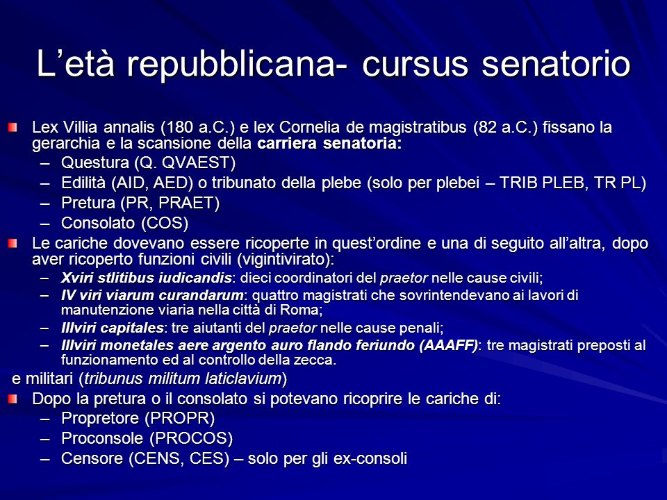 L'età repubblicana- cursus senatorio Lex Villia annalis (180 a.C.) e lex Cornelia de magistratibus (82 a.C.) fissano la gerarchia e la scansione della