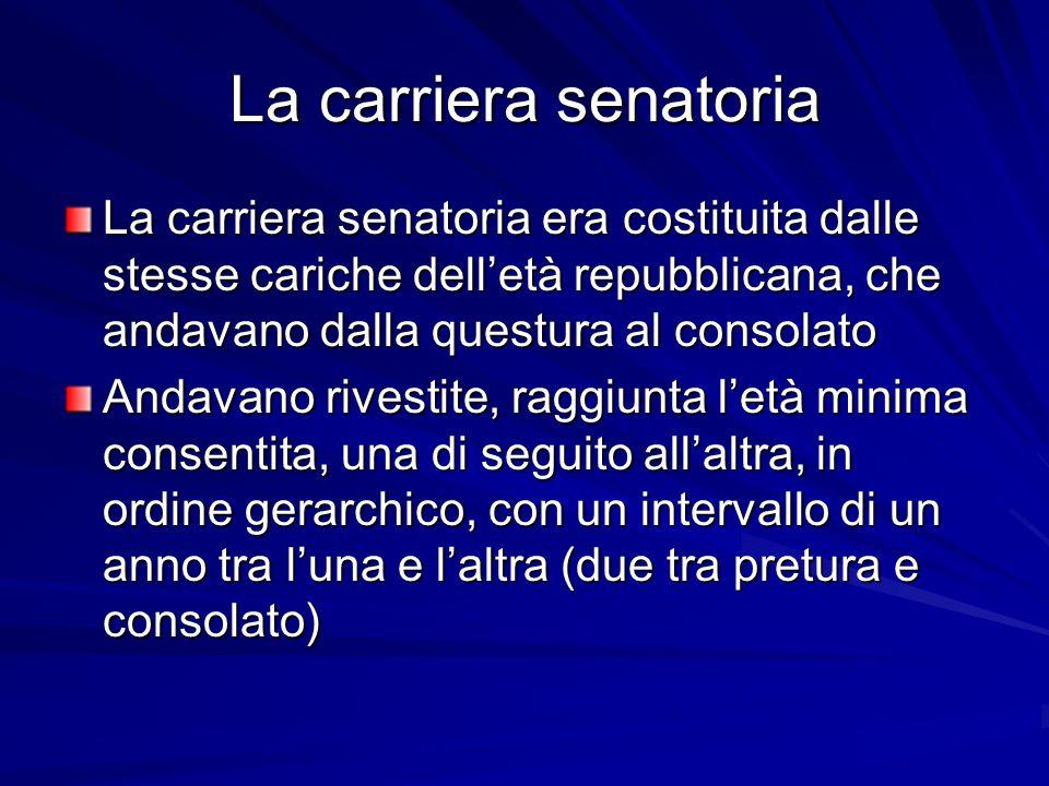 La carriera senatoria La carriera senatoria era costituita dalle stesse cariche dell'età repubblicana, che andavano dalla questura al consolato Andava