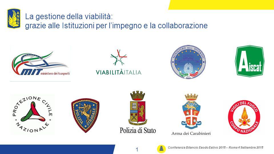 WWW.STRADEANAS.IT La gestione della viabilità: grazie alle Istituzioni per l'impegno e la collaborazione 2 1 Conferenza Bilancio Esodo Estivo 2015 – Roma 4 Settembre 2015