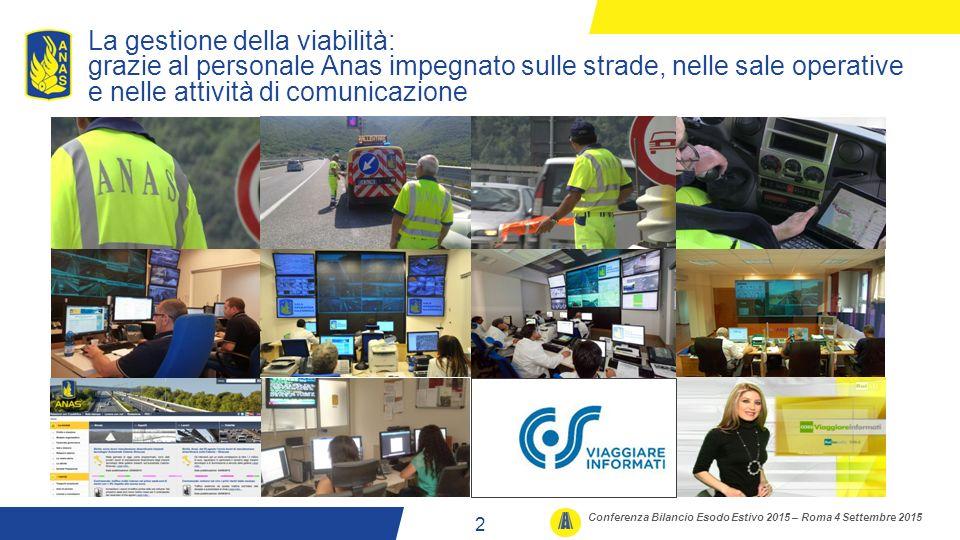 La gestione della viabilità: grazie al personale Anas impegnato sulle strade, nelle sale operative e nelle attività di comunicazione Conferenza Bilancio Esodo Estivo 2015 – Roma 4 Settembre 2015 2