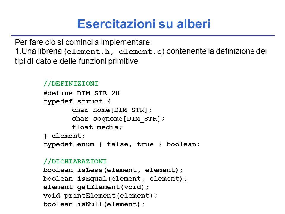 Esercitazioni su alberi Per fare ciò si cominci a implementare: 1.Una libreria ( element.h, element.c ) contenente la definizione dei tipi di dato e d