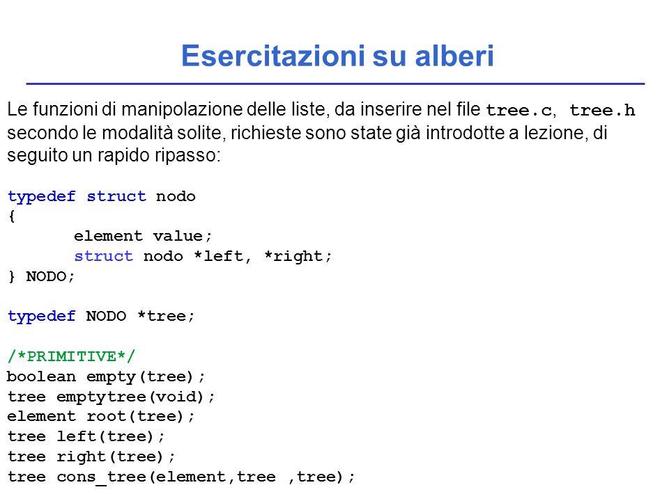 Esercitazioni su alberi Le funzioni di manipolazione delle liste, da inserire nel file tree.c, tree.h secondo le modalità solite, richieste sono state