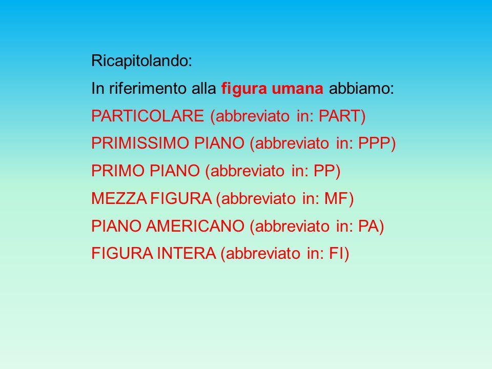 Ricapitolando: In riferimento alla figura umana abbiamo: PARTICOLARE (abbreviato in: PART) PRIMISSIMO PIANO (abbreviato in: PPP) PRIMO PIANO (abbrevia
