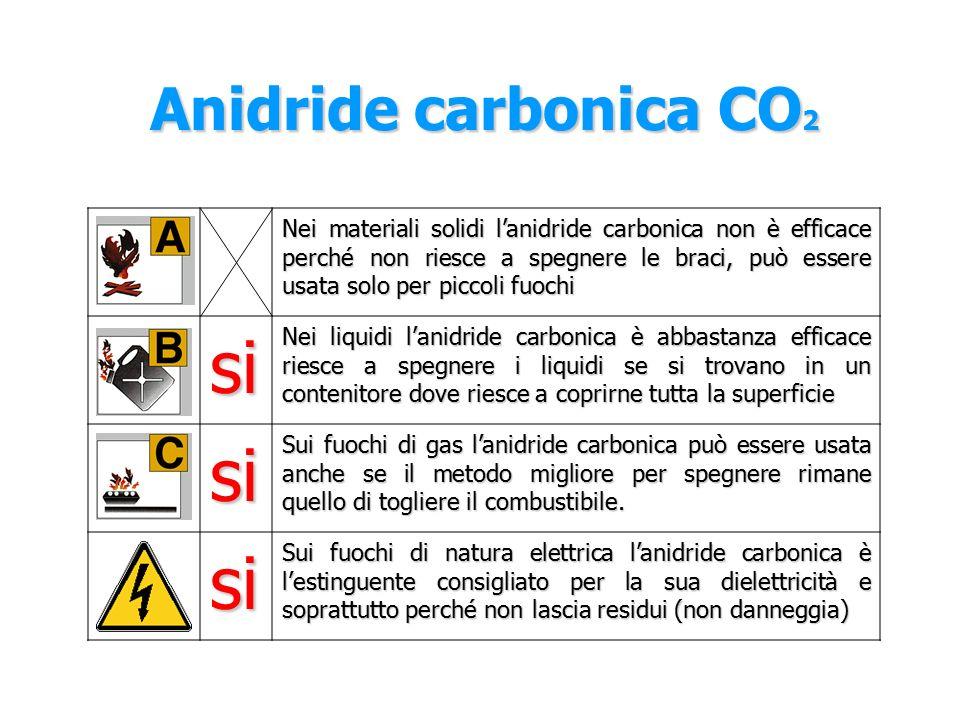 Anidride carbonica CO 2 L'anidride carbonica CO 2 è un gas naturale, viene utilizzato come estinguente grazie alla sua capacità asfissiante, si combina con l'ossigeno riducendone la concentrazione, spegne il fuoco per soffocamento.
