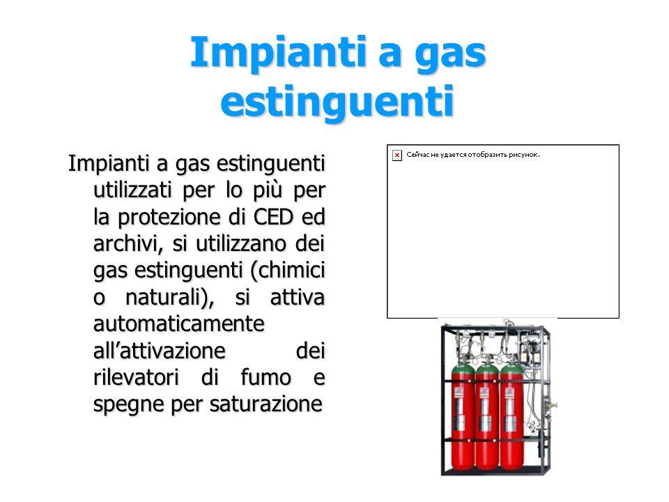 Impianto sprinkler L'impianto sprinkler è il classico impianto a pioggia e può essere di tre tipi: Impianto a umido: tutte le tubazioni sono riempite d'acqua e si attiva con la rottura dell'ampolla in vetro posizionata sull'ugello Impianto a secco: una parte d'impianto è riempita d'aria compressa Impianto a diluvio: tutte le tubazioni sono vuote si attiva con i rilevatori di fumo e l'acqua esce da tutti gli erogatori