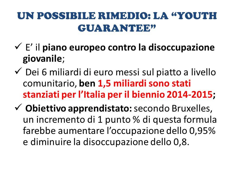 UN POSSIBILE RIMEDIO: LA YOUTH GUARANTEE E' il piano europeo contro la disoccupazione giovanile; Dei 6 miliardi di euro messi sul piatto a livello comunitario, ben 1,5 miliardi sono stati stanziati per l'Italia per il biennio 2014-2015; Obiettivo apprendistato: secondo Bruxelles, un incremento di 1 punto % di questa formula farebbe aumentare l'occupazione dello 0,95% e diminuire la disoccupazione dello 0,8.