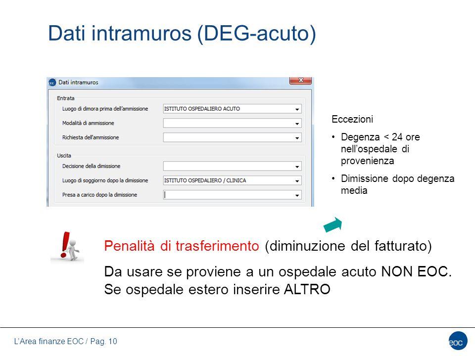 L'Area finanze EOC / Pag. 10 Dati intramuros (DEG-acuto) Penalità di trasferimento (diminuzione del fatturato) Da usare se proviene a un ospedale acut