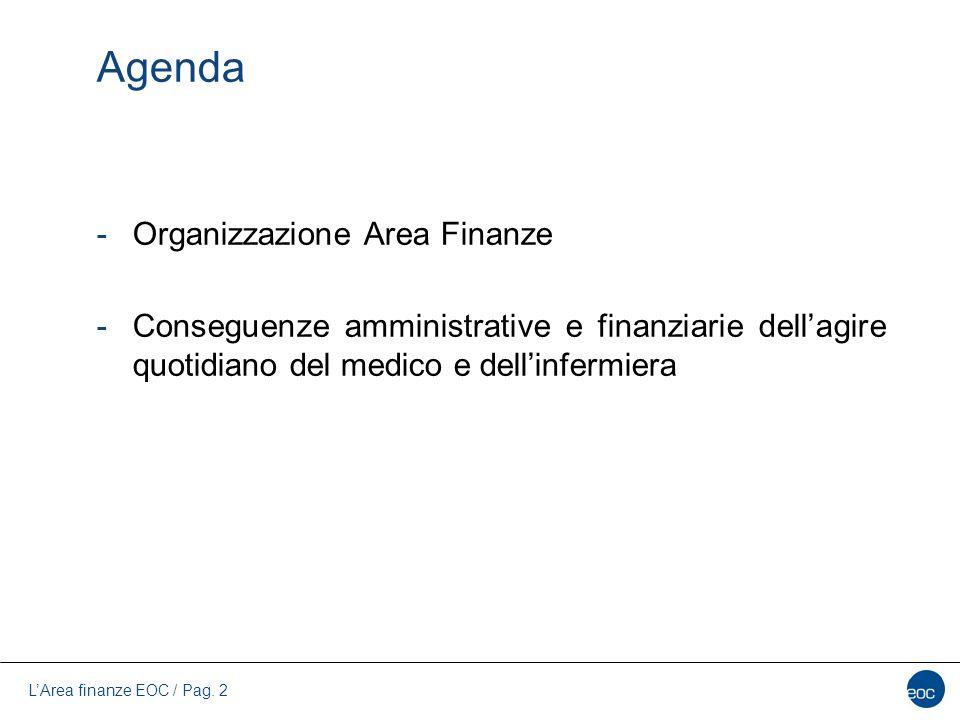 L'Area finanze EOC / Pag. 2 Agenda -Organizzazione Area Finanze -Conseguenze amministrative e finanziarie dell'agire quotidiano del medico e dell'infe