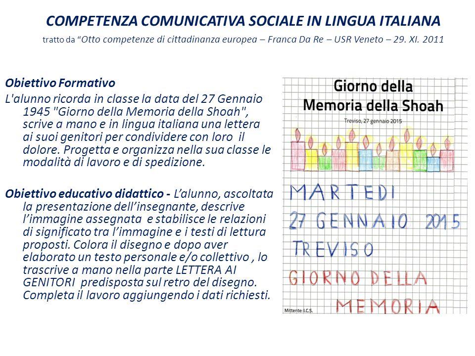 """COMPETENZA COMUNICATIVA SOCIALE IN LINGUA ITALIANA tratto da """" Otto competenze di cittadinanza europea – Franca Da Re – USR Veneto – 29. XI. 2011 Obie"""