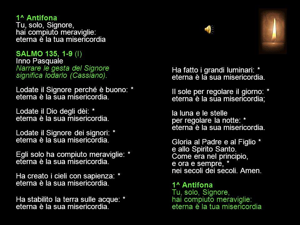 1^ Antifona Tu, solo, Signore, hai compiuto meraviglie: eterna è la tua misericordia SALMO 135, 1-9 (I) Inno Pasquale Narrare le gesta del Signore significa lodarlo (Cassiano).