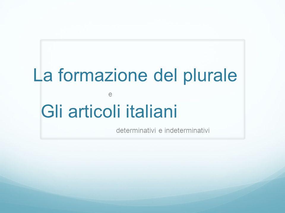 Gli articoli italiani determinativi e indeterminativi La formazione del plurale e