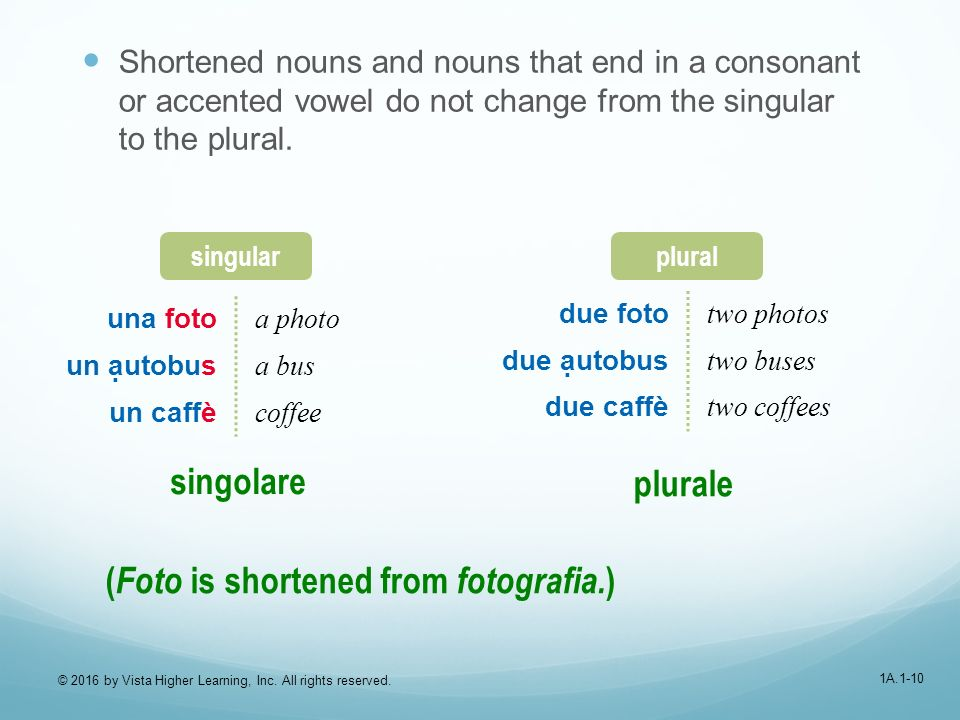 1A.1-10 Shortened nouns and nouns that end in a consonant or accented vowel do not change from the singular to the plural.