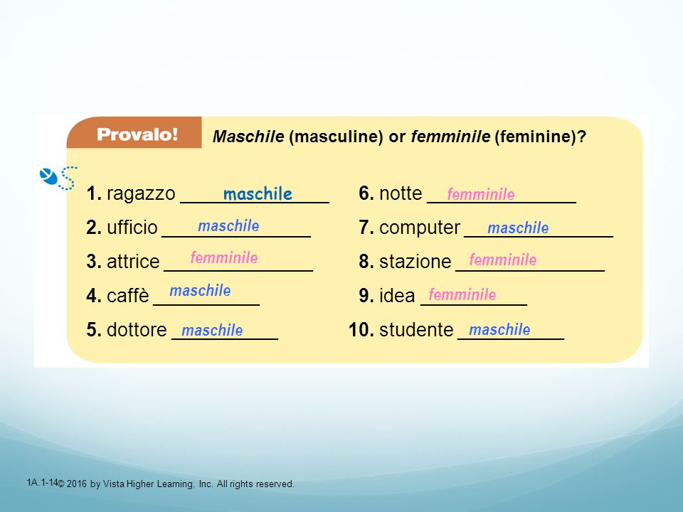 1A.1-14 Maschile (masculine) or femminile (feminine)? 1. ragazzo ______________ 2. ufficio ______________ 3. attrice ______________ 4. caffè _________