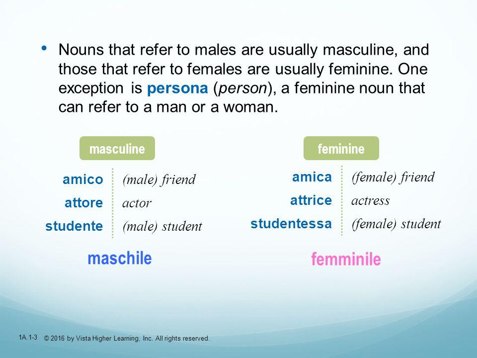 1A.1-14 Maschile (masculine) or femminile (feminine).