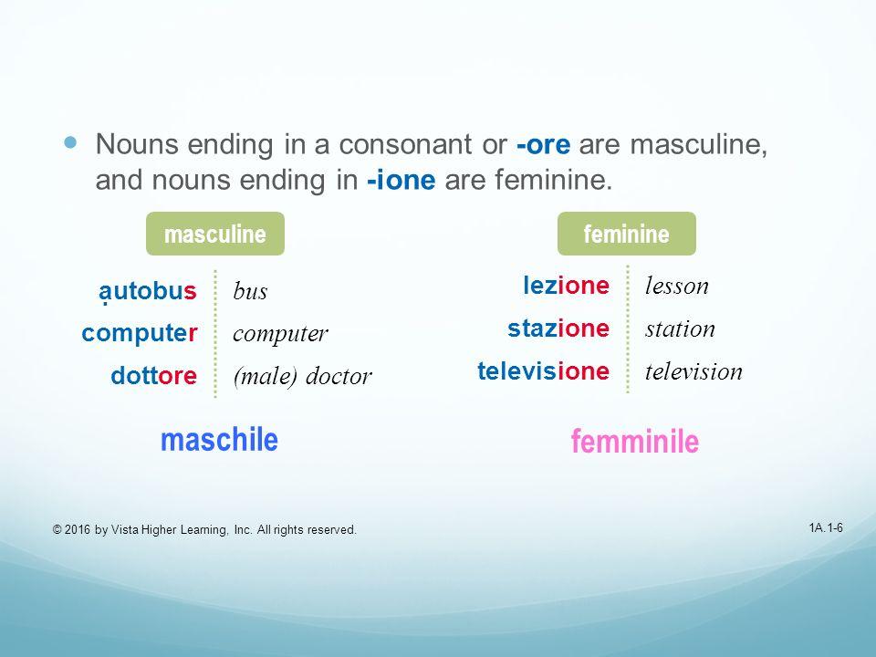 1A.1-17 Maschile (masculine) or femminile (feminine).