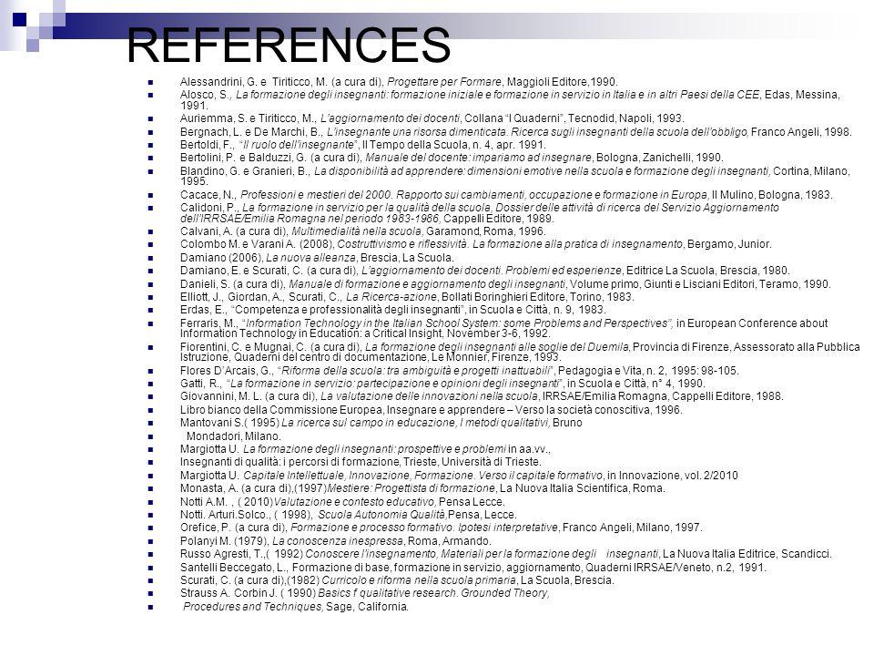 REFERENCES Alessandrini, G. e Tiriticco, M. (a cura di), Progettare per Formare, Maggioli Editore,1990. Alosco, S., La formazione degli insegnanti: fo