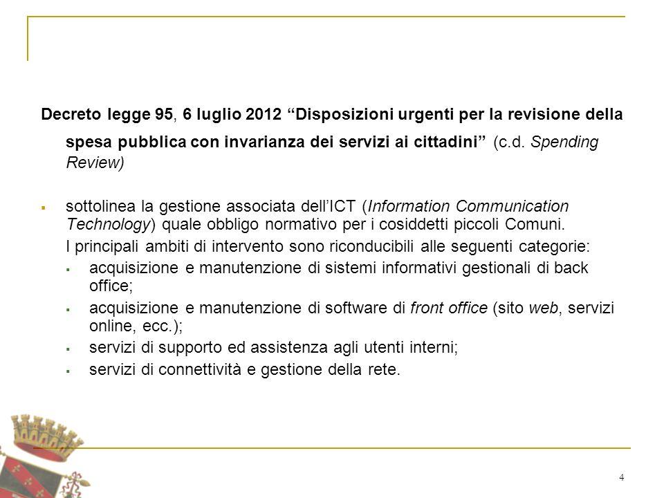 4 Decreto legge 95, 6 luglio 2012 Disposizioni urgenti per la revisione della spesa pubblica con invarianza dei servizi ai cittadini (c.d.