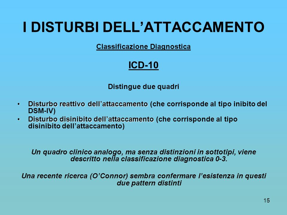 15 I DISTURBI DELL'ATTACCAMENTO Classificazione Diagnostica ICD-10 Distingue due quadri Disturbo reattivo dell'attaccamentoDisturbo reattivo dell'atta