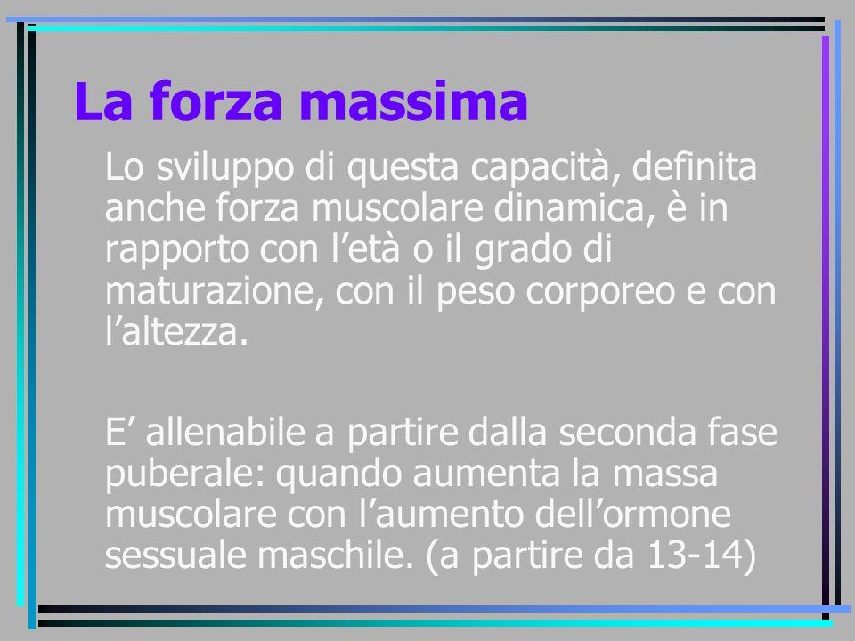 La forza massima Lo sviluppo di questa capacità, definita anche forza muscolare dinamica, è in rapporto con l'età o il grado di maturazione, con il pe