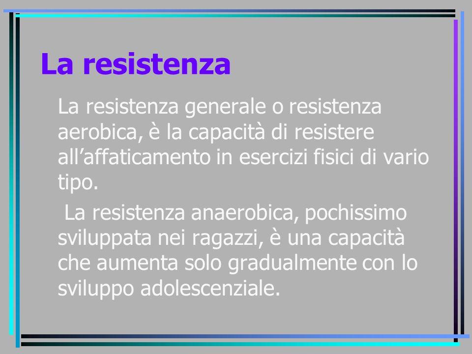 La resistenza La resistenza generale o resistenza aerobica, è la capacità di resistere all'affaticamento in esercizi fisici di vario tipo. La resisten
