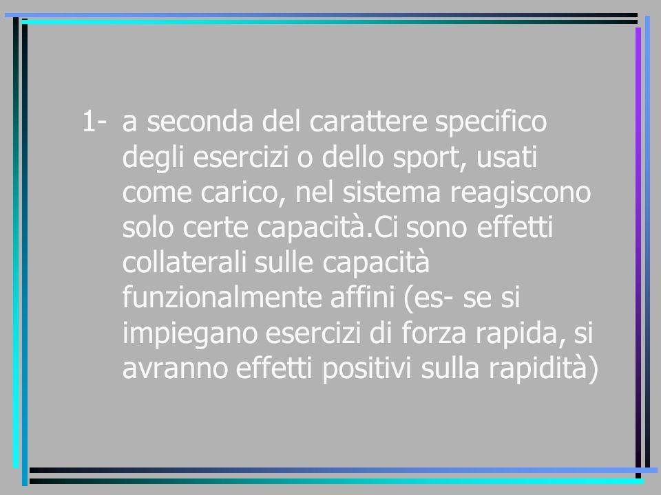 1-a seconda del carattere specifico degli esercizi o dello sport, usati come carico, nel sistema reagiscono solo certe capacità.Ci sono effetti collat