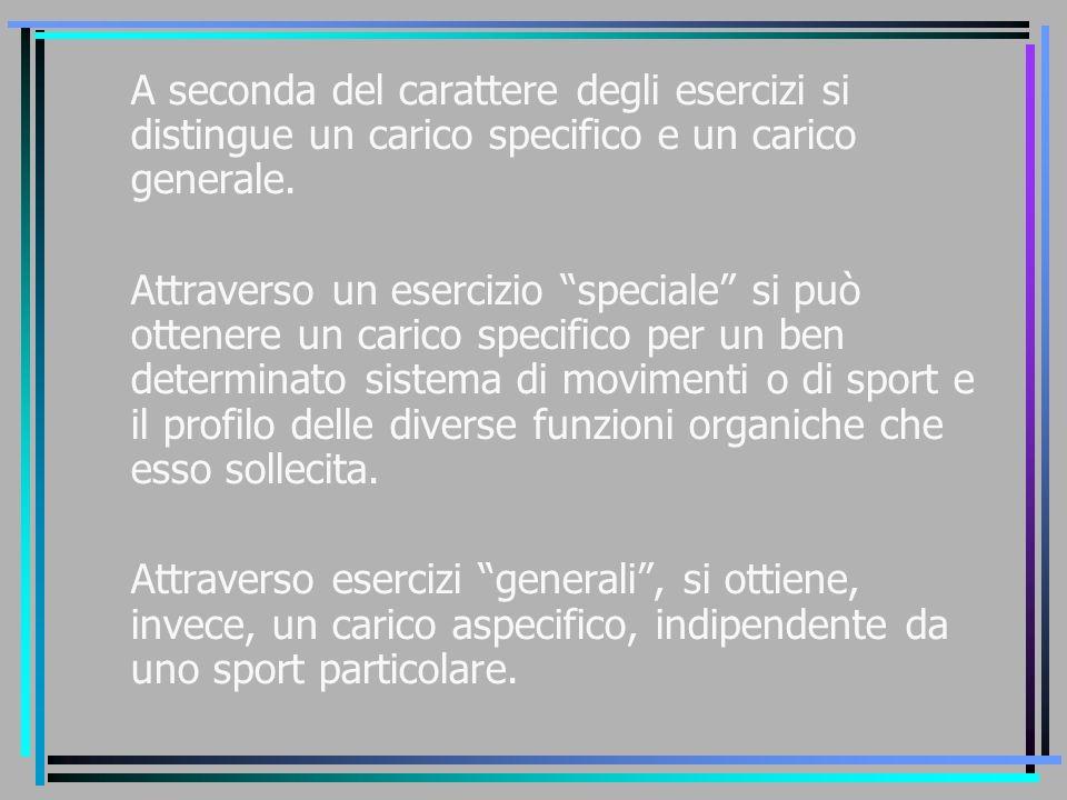 """A seconda del carattere degli esercizi si distingue un carico specifico e un carico generale. Attraverso un esercizio """"speciale"""" si può ottenere un ca"""