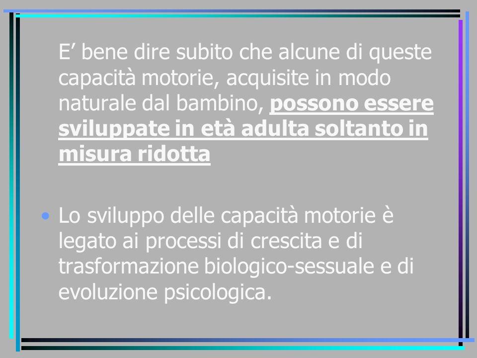 Quindi se vogliamo che questo sviluppo abbia luogo, occorre che il soggetto (il bambino) sia messo in grado di svolgere correttamente l'attività motoria mediante interventi didattico-metodologici intenzionali e programmati.