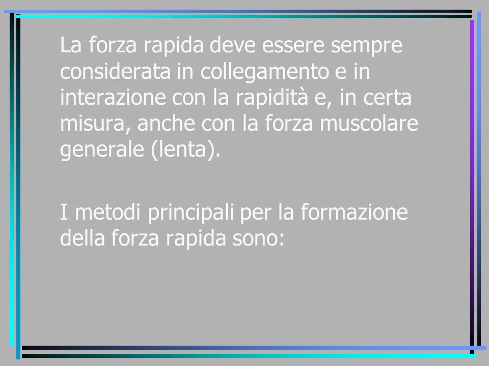 La forza rapida deve essere sempre considerata in collegamento e in interazione con la rapidità e, in certa misura, anche con la forza muscolare gener