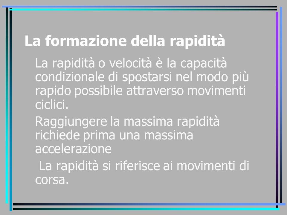 La formazione della rapidità La rapidità o velocità è la capacità condizionale di spostarsi nel modo più rapido possibile attraverso movimenti ciclici