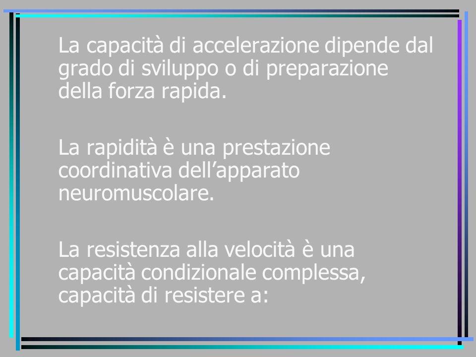 La capacità di accelerazione dipende dal grado di sviluppo o di preparazione della forza rapida. La rapidità è una prestazione coordinativa dell'appar