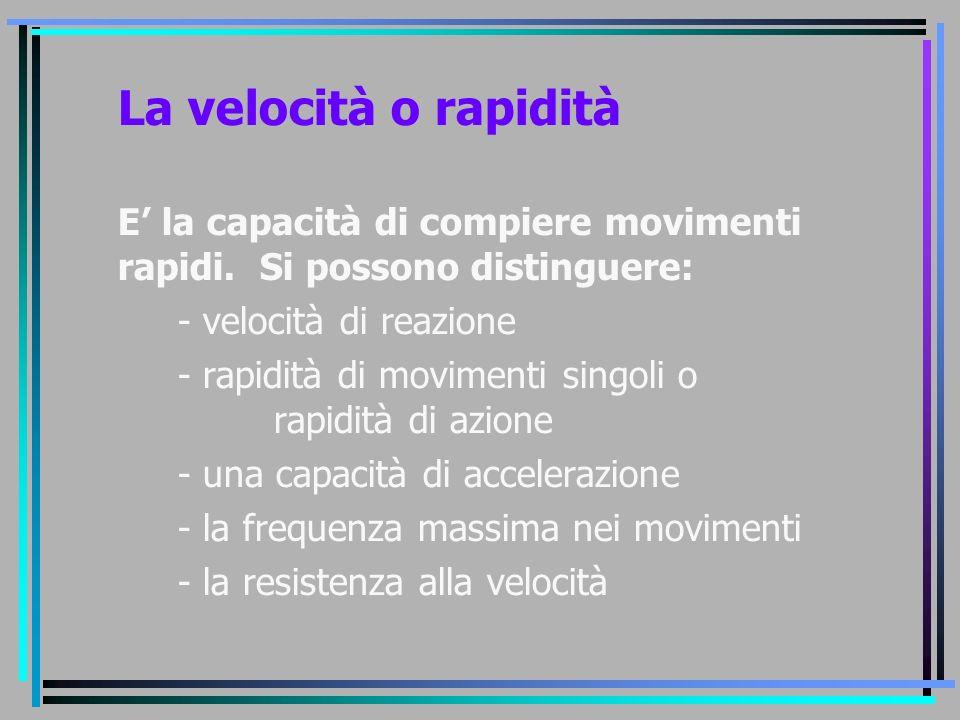 La velocità o rapidità E' la capacità di compiere movimenti rapidi. Si possono distinguere: - velocità di reazione - rapidità di movimenti singoli o r