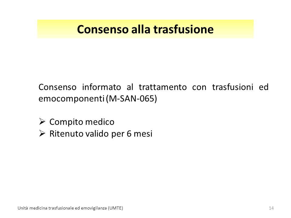 Consenso alla trasfusione Consenso informato al trattamento con trasfusioni ed emocomponenti (M-SAN-065)  Compito medico  Ritenuto valido per 6 mesi 14Unità medicina trasfusionale ed emovigilanza (UMTE)