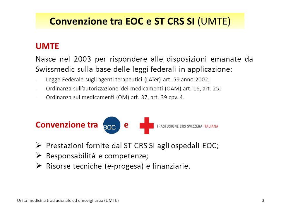 UMTE Nasce nel 2003 per rispondere alle disposizioni emanate da Swissmedic sulla base delle leggi federali in applicazione: -Legge Federale sugli agenti terapeutici (LATer) art.