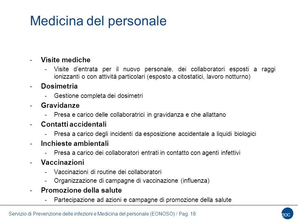 Servizio di Prevenzione delle infezioni e Medicina del personale (EONOSO) / Pag. 18 Medicina del personale -Visite mediche -Visite d'entrata per il nu