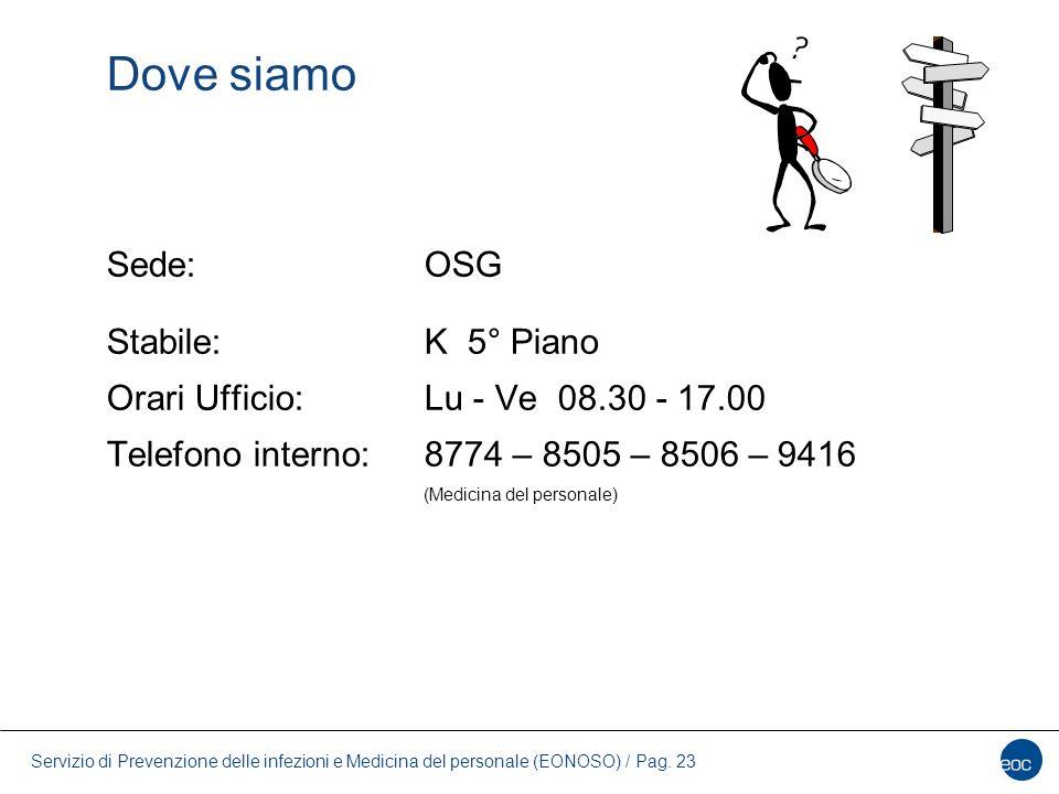Servizio di Prevenzione delle infezioni e Medicina del personale (EONOSO) / Pag. 23 Dove siamo Sede:OSG Stabile:K 5° Piano Orari Ufficio: Lu - Ve 08.3