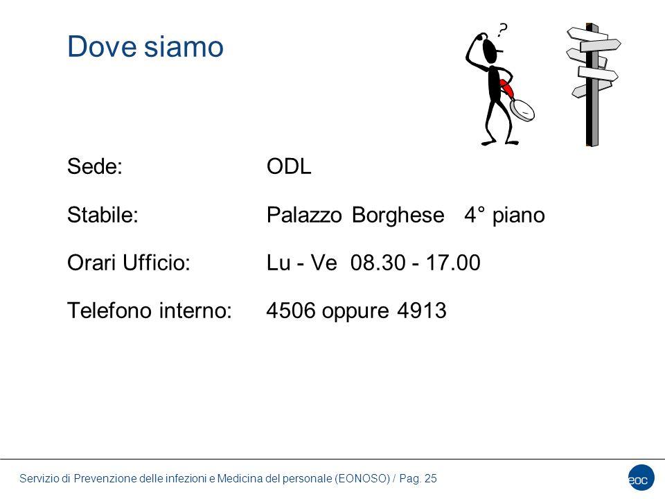 Servizio di Prevenzione delle infezioni e Medicina del personale (EONOSO) / Pag. 25 Dove siamo Sede:ODL Stabile:Palazzo Borghese 4° piano Orari Uffici