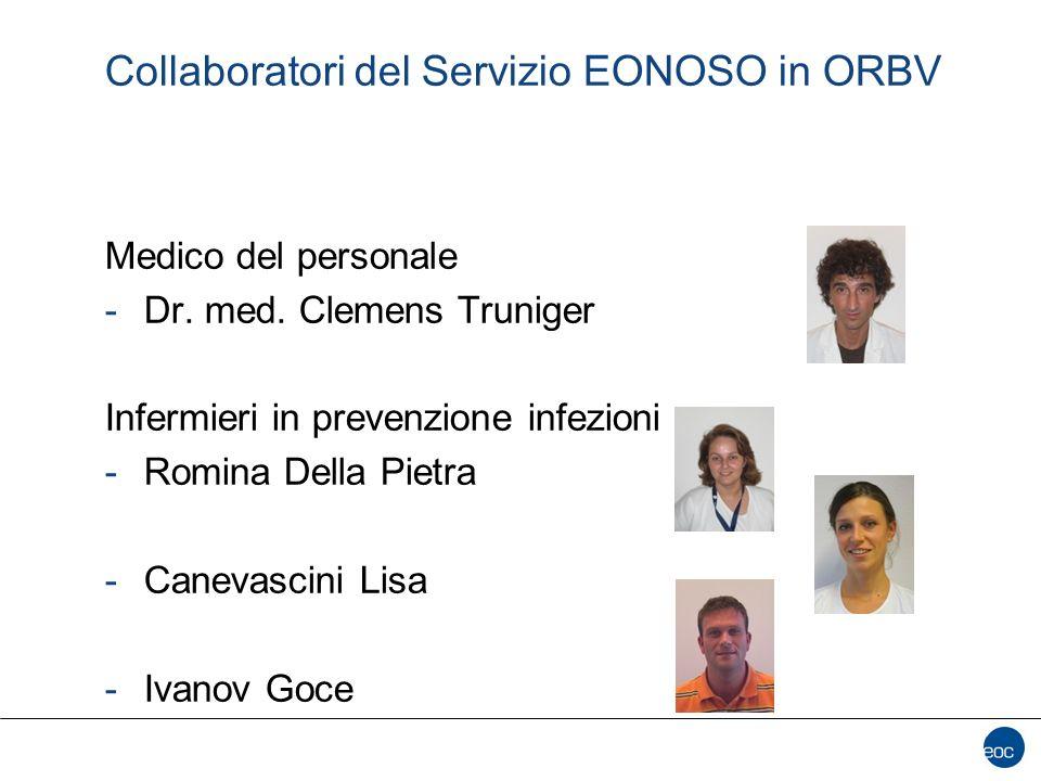 Collaboratori del Servizio EONOSO in ORBV Medico del personale -Dr. med. Clemens Truniger Infermieri in prevenzione infezioni -Romina Della Pietra -Ca