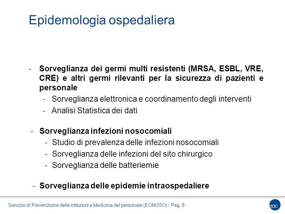 Servizio di Prevenzione delle infezioni e Medicina del personale (EONOSO) / Pag. 8 Epidemologia ospedaliera -Sorveglianza dei germi multi resistenti (