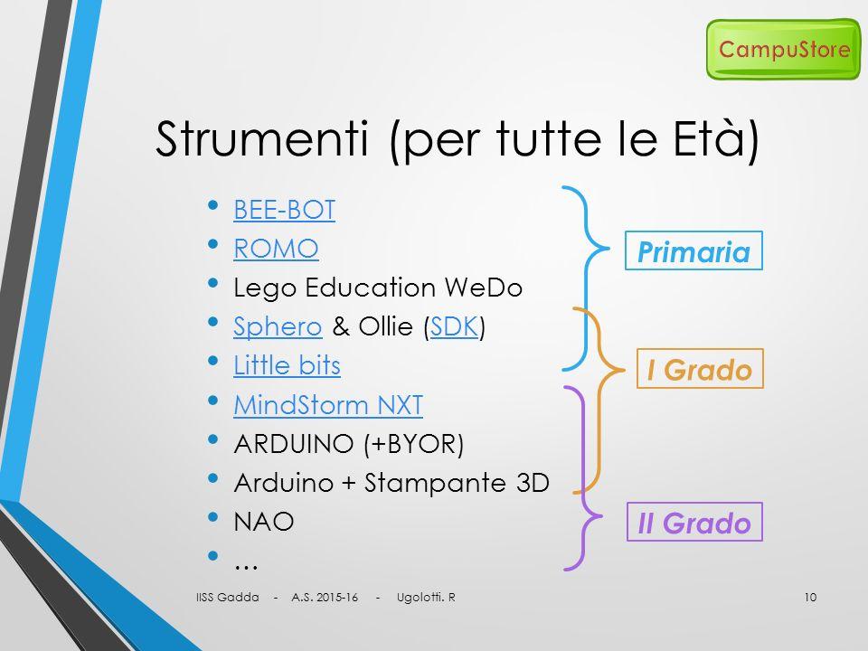 Strumenti (per tutte le Età) BEE-BOT ROMO Lego Education WeDo Sphero & Ollie (SDK) SpheroSDK Little bits MindStorm NXT ARDUINO (+BYOR) Arduino + Stamp