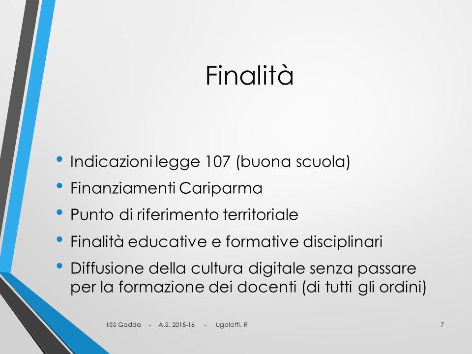Finalità Indicazioni legge 107 (buona scuola) Finanziamenti Cariparma Punto di riferimento territoriale Finalità educative e formative disciplinari Di