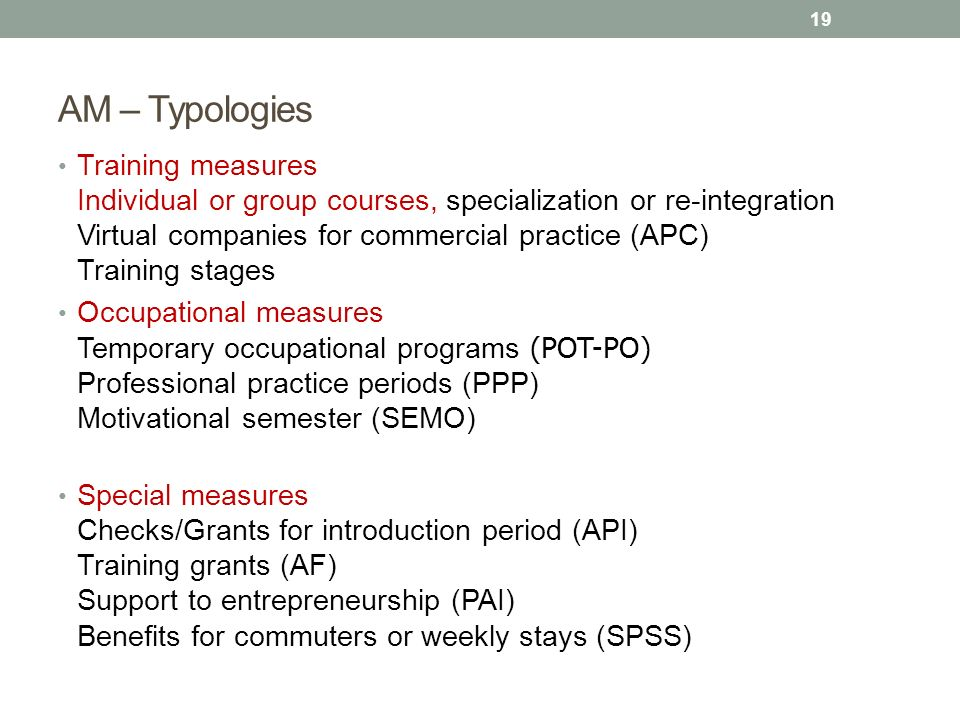 AM – Typologies Training measures Individual or group courses, specialization or re-integration Virtual companies for commercial practice (APC) Traini