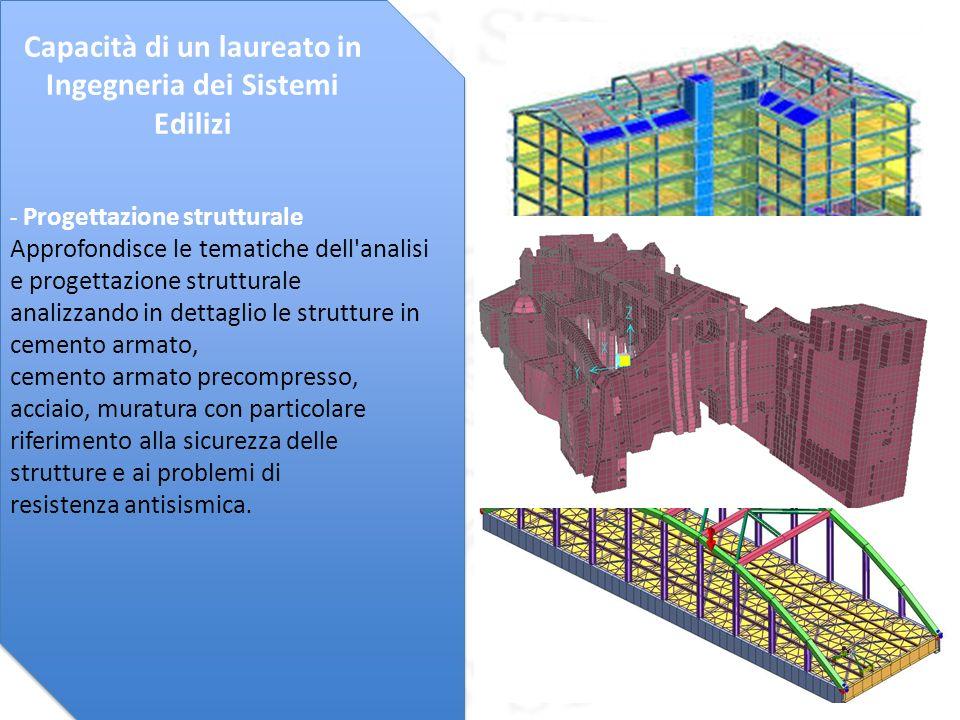 - Progettazione impiantistica Approfondisce le tematiche connesse alla progettazione degli impianti tecnici e per la sicurezza in edilizia, con una particolare attenzione per i temi della sostenibilità energetica ed ambientale.