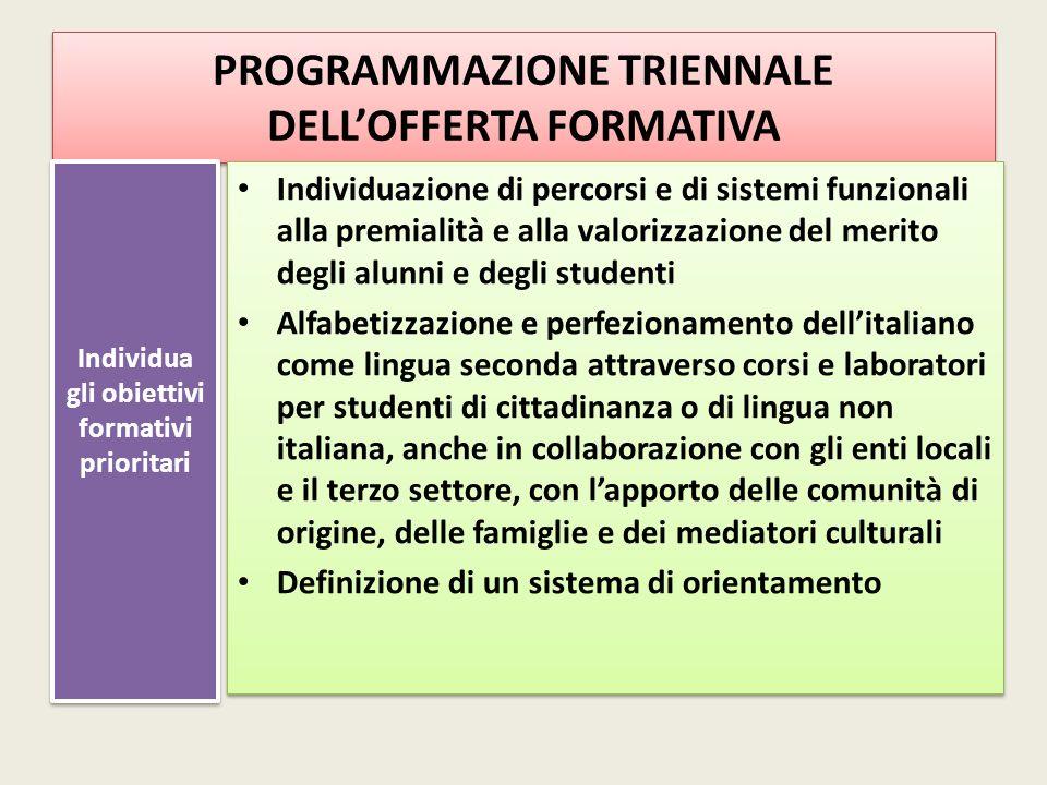 PROGRAMMAZIONE TRIENNALE DELL'OFFERTA FORMATIVA Individua gli obiettivi formativi prioritari Individuazione di percorsi e di sistemi funzionali alla p