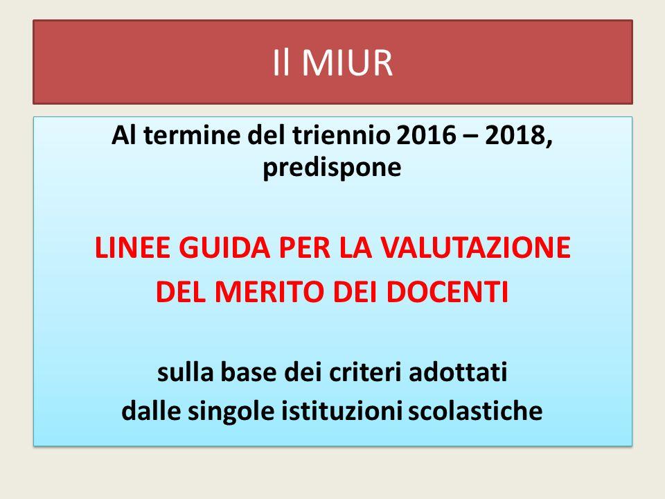 Il MIUR Al termine del triennio 2016 – 2018, predispone LINEE GUIDA PER LA VALUTAZIONE DEL MERITO DEI DOCENTI sulla base dei criteri adottati dalle si